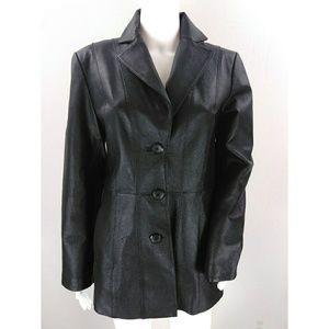 Worthington genuine black leather jacket SMALL
